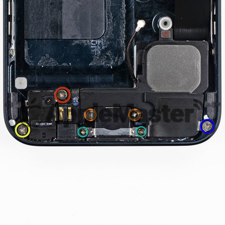 Расположение крепежей нижнего шлейфа iPhone 6S Plus